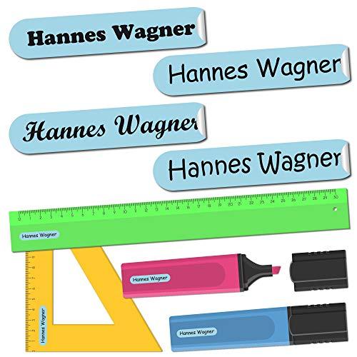 INDIGOS UG Aufkleber - Namensaufkleber - hellblau - selbstklebend - 36 x 7 mm - 300 Stück in einem Set - personalisierbar - in 16 verschiedenen Farben erhältlich - Kinder Schule KITA Kindergarten