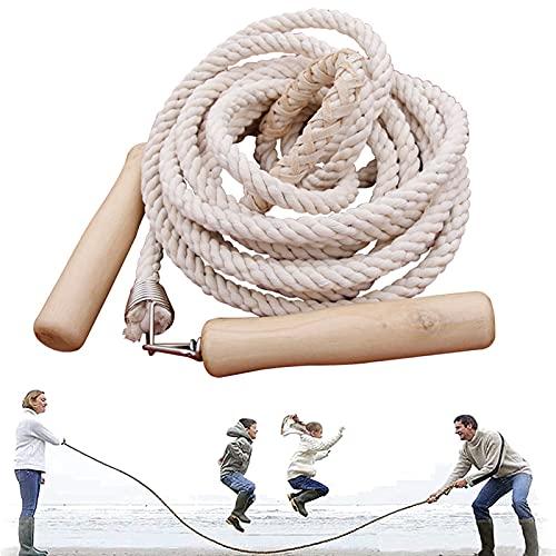 ZONSUSE Grupos Saltar Cuerda, Cuerda Saltar Niños, Multijugador Cuerda de Saltar, Cuerda Salto de Longitud con Mango de Madera para Niños y Adultos para Deportes Escolares Actividades Aire Libre (7M)