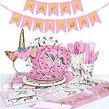 MOOKLIN ROAM - 112 Piezas Unicornio Party Supplies Set, Accesorio de Decoración Fiesta de Cumpleaños Desechable con Platos Servilletas Pancarta Vasos y Mantel Resistente para 12 Invitados (Color Rosa)