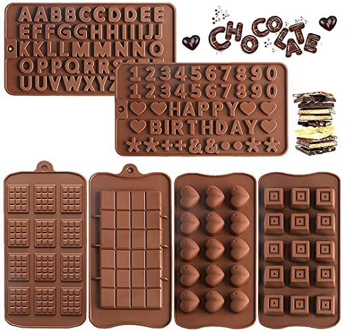6 Pack Alphabet Chocolate Molds, Silicone Letter & Number Mold with Happy Birthday for Cake Decorations, Mini Candy Bar Molds, Break Apart Chocolate Protein and Energy Bar Mold
