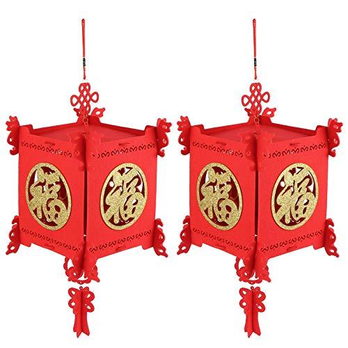 Aoutecen Linterna China de Festivales de Primavera, Linterna roja China, Festivales de Primavera, Linterna de Fieltro Plegable, 2 Juegos, Centro Comercial de jardín para el Patio del hogar