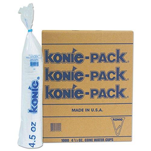 Konie 45KPPK Rolled Rim Paper Cone Cups, 4.5 oz, White, 1000/Pack