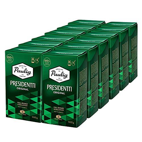 Paulig Presidentti Kaffee Gemahlen (12x500g) - Master Mischung aus 100% Arabica-Bohnen – Vollmundige Röstung Stufe 3 - Perfekte Aromabalance - Premium Qualität