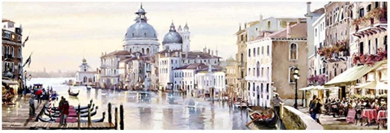 Tu satisfacción es nuestro objetivo QIAISHI Ciudad Ciudad Ciudad de Agua Abstracta de Venecia Pintura al óleo sobre Lienzo Resort Barcos Edificios Cocheteles e Impresiones Arte de la Parojo para la Sala de EEstrella  venta al por mayor barato