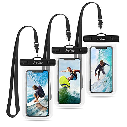 """ProCase Universal Waterproof Pouch up to 7"""", Cellphone Dry Bag Underwater Case for iPhone 13 Pro Max/12 11 Pro Max/Xs Max/XR/8 Plus/Mini, Galaxy S21 Ultra A42,Moto,Pixel -3 Pack, Clear"""