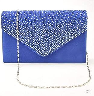 D DOLITY Womens Satin Diamante Clutch Shouler Bag Evening Bridal Handbag Royal Blue