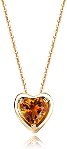 Carleen Solid 14K Yellow Gold Birthday Heart Shape Gemstone Solitaire Birthstone Necklace Pendant Delicate Dainty Fine Jewelry for Women Girl, 18 inch