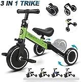 XJD 3 en 1 Bebé Triciclo Bicicleta de Equilibrio para Niños y Niñas de 1 a 3 años Plegable y Ligero con CE Certificación Versión2.0 (Verde)