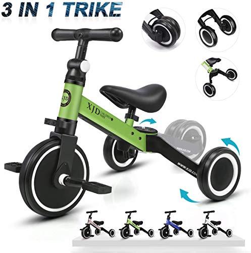 XJD 3 in 1 Kinder Dreiräder für 1-3 Jahre Alt Kleinkind Jungen Mädchen Baby Bike Trike Upgrade 2.0 (Grün)