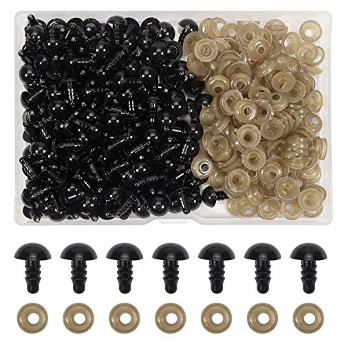 TOAOB 150 Piezas 9 mm de Ojos de Plástico Seguridad de Negro Plástic con Arandelas Ojos de Muñecas para Hacer Muñecas Manualidades de Crochet Tejer Animales