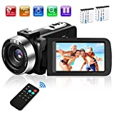 Video Camera Camcorder, Kmashi Digital Vlogging Camera for YouTube Full HD 1080P 30FPS 30.0MP 18X Digital Zoom Camcorder with 2 Batteries and Remote Control