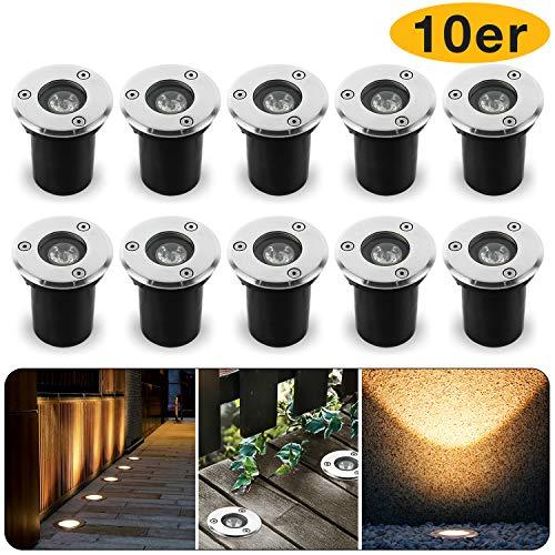 1W Led Bodeneinbaustrahler Einbaustrahler Warmweiß 230V AC IP67 Wasserdicht 90LM Gartenbeleuchtung Lamp Für Aussen(10er)