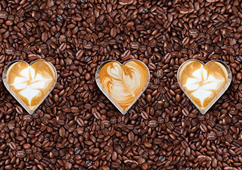 wandmotiv24 Fototapete Kaffeebohnen und Kaffeeherzen, S 200 x 140cm - 4 Teile, Fototapeten, Wandbild, Motivtapeten, Vlies-Tapeten, Kaffee M0731