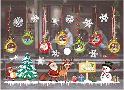 Sunshine smile fensterbild Weihnachten,Fensteraufkleber,PVC Fensterbilder,Weihnachten Fensterdeko,selbstklebend Fensterfolie,Weihnachtsdekoration,deko Weihnachten (A30)