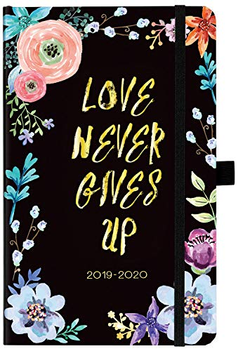 Planner 2019-2020 - Weekly & Monthly Planner with Tabs, 5.25' x 8.25', Hardcover with Pen Holder, Back Pocket + Thick Paper + Banded with Gift Box - Black Floral