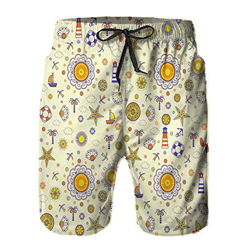Aerokarbon Hombres Playa Bañador Shorts,Fondo Transparente Marino Abstracto Veraniego,Traje de baño con Forro de Malla de Secado rápido L