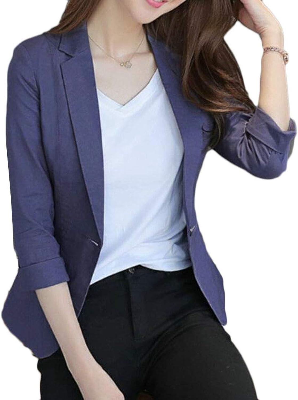 Nanquan Women Cotton Linen 3 4 Sleeves One Button Blazer Jacket Suit Coat