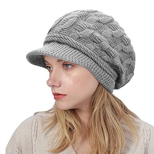 VIKEY Gorro de punto para mujer, de lana gruesa, estilo retro, informal, con paraguas, para invierno, gris claro, Talla única