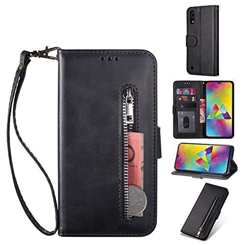 ZTOFERA für Samsung Galaxy A10 Hülle, Brieftasche Reißverschluss Magnetisch Flip Folio PU Leder Kartenhalter mit Trageschlaufe Ständer Zipper Geldbörse Schutzhülle für Galaxy A10 - Schwarz