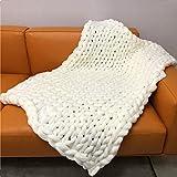 Canadod Manta de lana gruesa tejida a mano, de punto rugoso, creativa manta de...