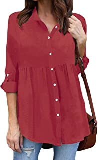 FRPE Womens Plus Size Solid Color Long Sleeve Ruched Office Chiffon Blouse Shirt Top