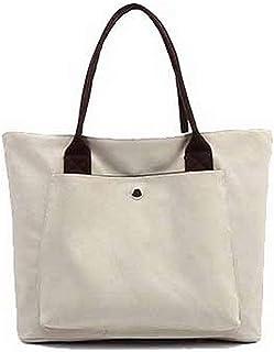 Shoulder Bag Women's Zippers Canvas Shoulder Bags Fashion Tote Bags Handbag Clutch (Color : Beige, Size : One Size)
