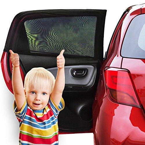 Fenêtre de voiture abat-jour (Lot de 2) - Pare-soleil pour voiture Bébé avec protection UV pour vos enfants, pour chien - Fenêtre de voiture soleil Housse sans colle ou ventouses - Compatible avec la plupart des voitures - 100% Garantie de Remboursement