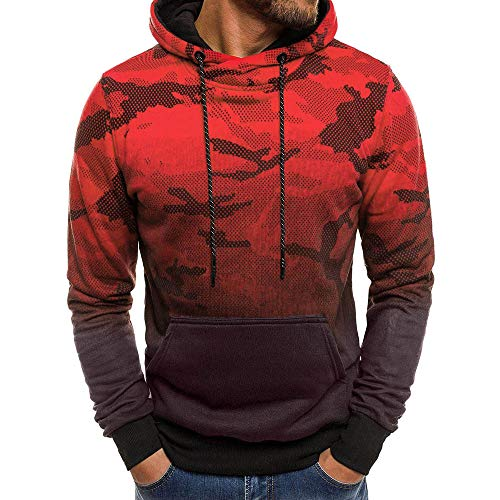 MRULIC Herren Langarm Camouflage Hoodie Sweatshirt Tops Oberbekleidung Kapuzenpulli mit Taschen RH-014(B-Rot,EU-46/CN-L)