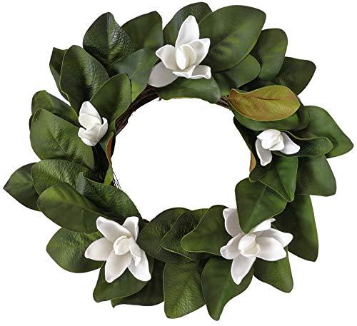 Xmas Arts& Crafts Artificial Magnolia Wreath with Magnolia Leaves& Flowers 21 inches for Festival Celebration Front Door Wreath Wall Window Party Decoration