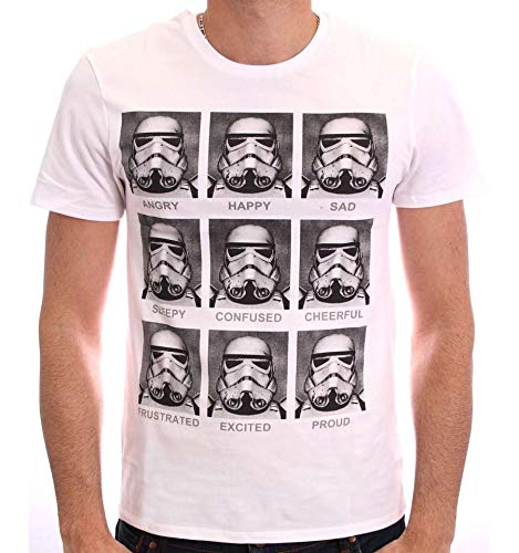 Star Wars Trooper Emotions Camiseta, Blanc, XL para Hombre