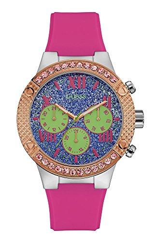 Guess Damen Multi Zifferblatt Quarz Uhr mit Silikon Armband W0772L4