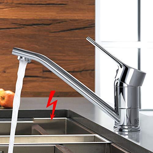 WOOHSE Niederdruck Küchenarmatur Einhebelmischer 360° Schwenkbarer Auslauf Niederdruck Armatur Küche Chrom Glänzend für drucklose Boiler Küche Spüle Flexible Anschlüsse inkl. Montageset