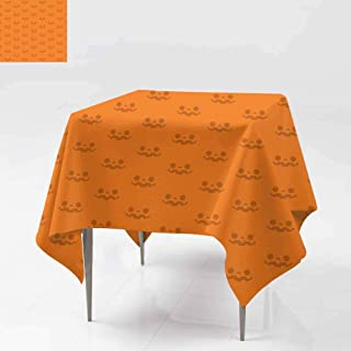 AFGG Washable Tablecloth,Halloween Seamless Pattern Jack o Lantern Pumpkin face,Table Cover for Dining 60x60 Inch s repe ated on Halloween Colors Orange Background Vector Illustration