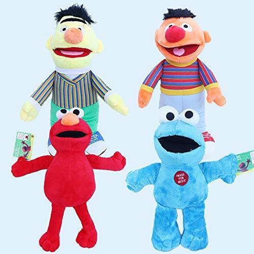 SDSG 4Pcs Cartoon Sesamstraße Plüschtier 20Cm, Elmo Keks Monster Ernie Bert Plüsch Gefüllte Spielzeugpuppe Weiche Tiere Spielzeug Für Kinder Kinder Geschenk