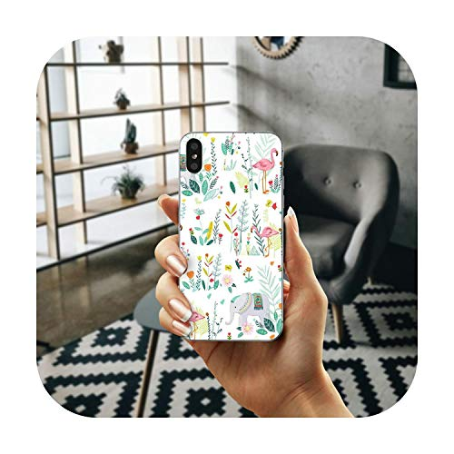 N/A Weiche TPU Silikon Transparent Handyhülle für iPhone 7 6 6S Plus X Xr Xs Max SE 4S 5 5S 5C Taschen Illustration Schöne Blumen Bild 1 für iPhone 7 Plus