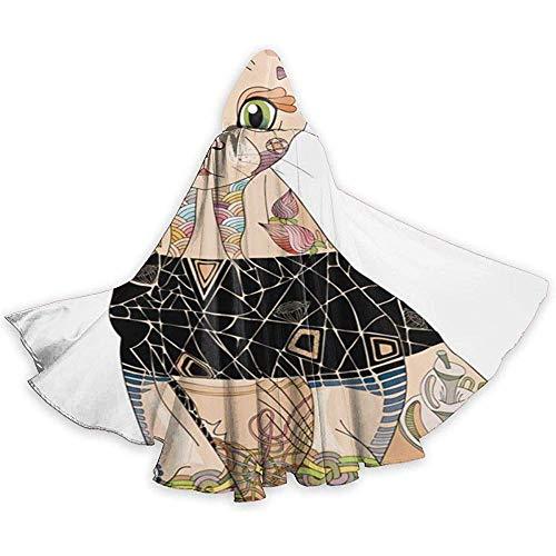 Kostüm in voller Länge Zentangle stilisierte Katze gezeichnete Lace Hooded Cape Kostüme