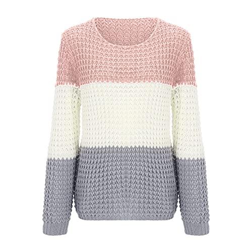 Yue668 - Jersey de cuello redondo para mujer, color a juego