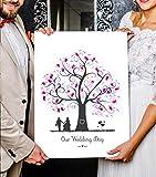 Cuadro de árbol de huellas dactilares sobre lienzo personalizable para boda como libro de visitas (45 x 60 cm, árbol 2)