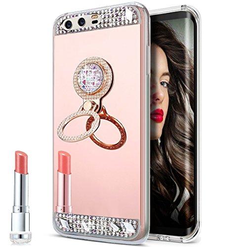 JW00519-all Huawei P10 hoes,Huawei P10 telefoonhoes spiegel,JAWSEU bekleding Mirro Ronde ring roségoud