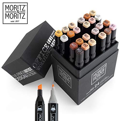 Moritz & Moritz Marker Set 24 Stück - Twinmarker Faserstifte - Graffiti Stifte in Hautfarbe zum...