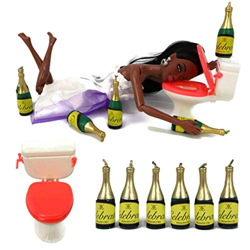 Drunk Doll Cake Topper Funny | Decoration Kit for Celebrating a Bachelorette Party or any Birthday 21 and Up (8 Piece Set)(Not Edible)(Barbie like)(African American)
