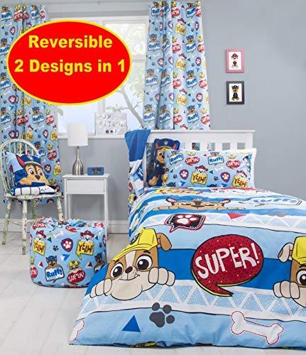 New Pawpatrol Reversible Duvet Quilt Cover Bed Set Peek Single Kids Boys Girls (Pawpatrol, Peek)