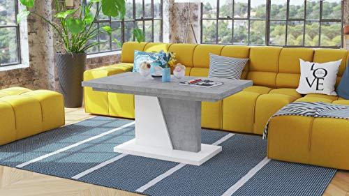 Mazzoni Design Couchtisch Tisch Noir ausziehbar 120-160 x 70 x 60cm Esstisch (Betonoptik/Weiß matt)