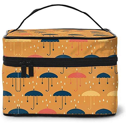 Regentropfen und Regenschirme Kosmetiktasche Schminktasche Beutel Tragetasche Organizer Aufbewahrung für Frauen Mädchen