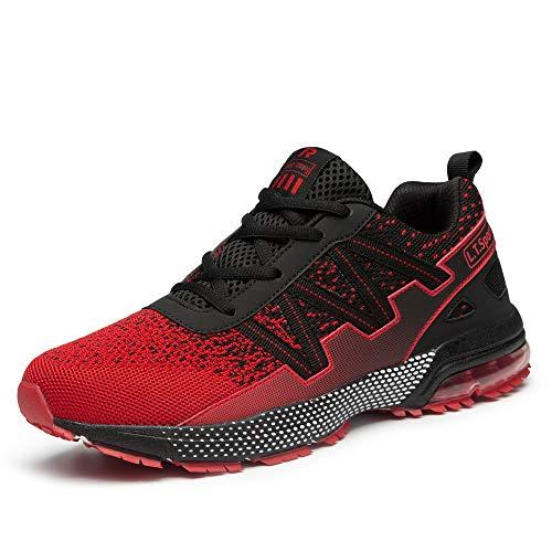 FITORY Zapatillas para Hombres Mujer Deportivo Zapatos Transpirable Zapatos para Correr Calzado Casual de Fitness al Aire Libre Rojo 45 EU