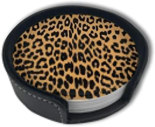 Cool Animal Leopard Print Coasters For Drinks With Holder Set,Leather Coasters Set Of 6,Round Cups Mugs Mat Pad For Home Kitchen Decor