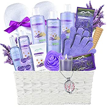 Lavender Gift Basket - #1 Natural Spa Kit - Spa Basket for Women & Men Bath and Body Home Spa Set Includes 20 Spa Gifts with Essential Oil Necklace! Beauty Basket- Unique Gift Idea for Girl Friend