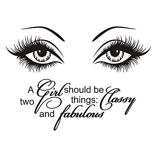 JUEKUI Wall Decals A Girl Shoud be Two Things Classy and Fabulous Beauty Salon Decor Eye Eyelash Quote Vinyl Stickers Makeup Nail Manicure WS86 (Black, 45x62cm)