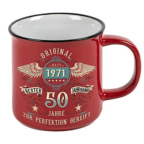 Lobo Negro Kaffeetasse als Geschenk zum 50. Geburtstag - Bester Jahrgang - Vintage Style im Geschenkkarton