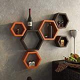Fleurs De Rocaille Juego de 6 estantes de pared con forma hexagonal, color...